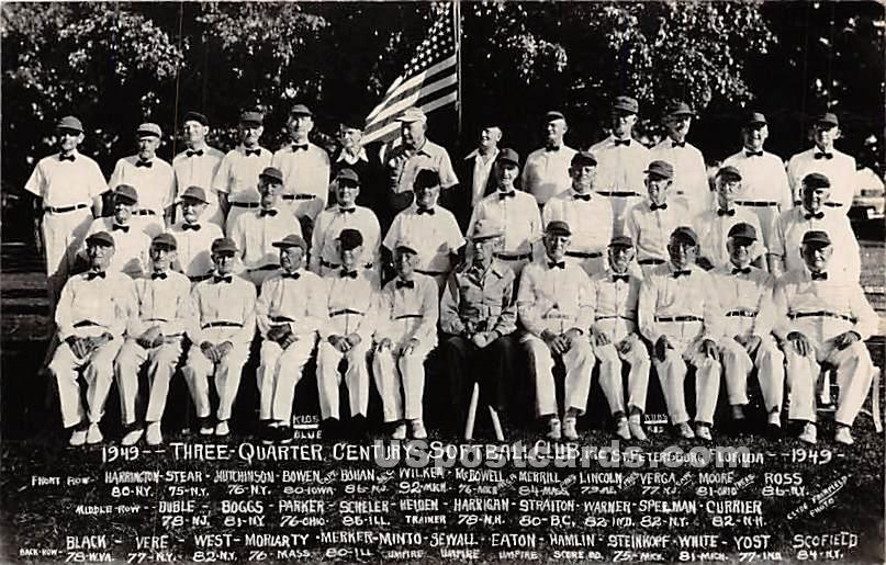1949-Three Wuarter Century Softball Club - St Petersburg, Florida FL Postcard