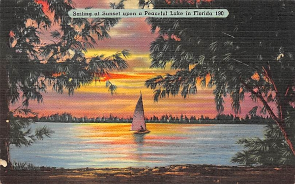 Sailing at Sunset upon a Peaceful Lake in FL, USA Florida Postcard