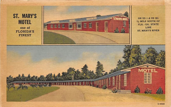 St. Mary's Motel, on Border of Florida and Georgia Postcard