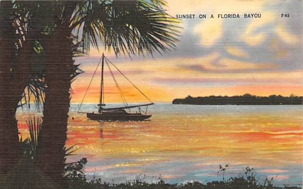 Sunset on  Florida Bayou, USA Postcard