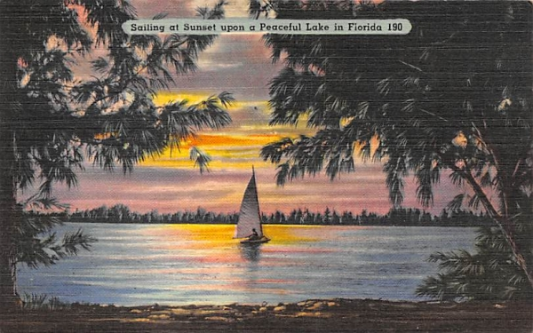 Sailing at Sunset upon a Peaceful Lake  Florida Postcard
