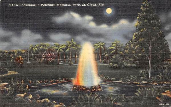 Fountain in Veterans' Memorial Park St Cloud, Florida Postcard