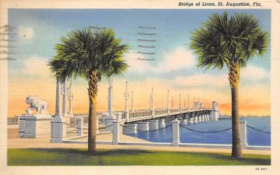 Bridge of Lions St Augustine, Florida Postcard