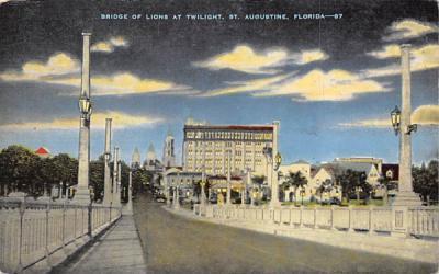 Bridge of Lions at Twilight St Augustine, Florida Postcard