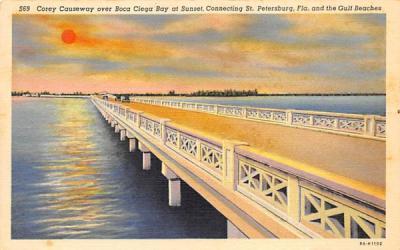 Corey Causeway over Boca Ciega Bay at Sunset St Petersburg, Florida Postcard