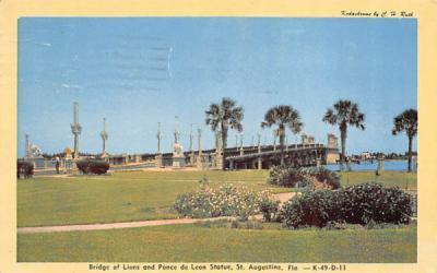 Bridge of Lions and Ponce de Leon Statue St Augustine, Florida Postcard