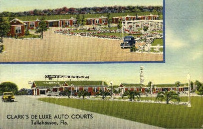 Clark's De Luxe Auto Courts - Tallahassee, Florida FL Postcard