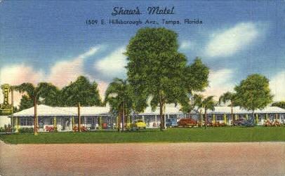 Shaw's Motel - Tampa, Florida FL Postcard