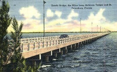 Gandy Bridge - Tampa, Florida FL Postcard