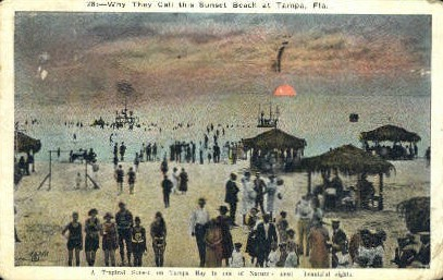 Sunset Beach - Tampa, Florida FL Postcard
