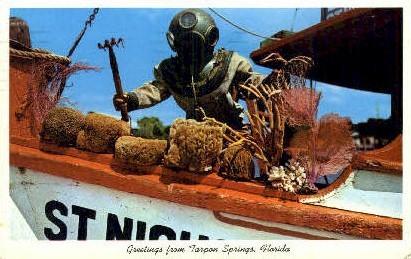 Sponge Diver - Tarpon Springs, Florida FL Postcard