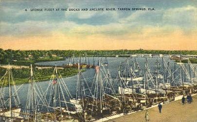 Anclote River Sponge Fleet - Tarpon Springs, Florida FL Postcard