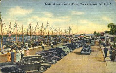 Sponge Industry - Tarpon Springs, Florida FL Postcard