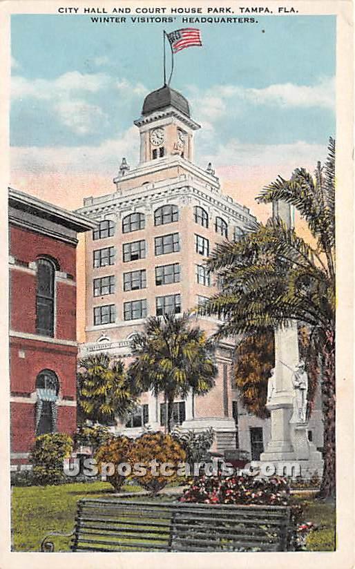 City Hall & Court House Park - Tampa, Florida FL Postcard