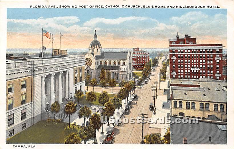 Florida Ave, Post Office - Tampa Postcard