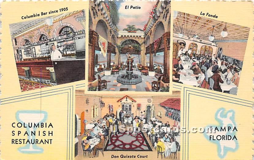 The Columbia Gem of Spanish Restaurants - Tampa, Florida FL Postcard