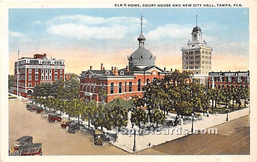 Elk's Home, Court House & New City Hall - Tampa, Florida FL Postcard