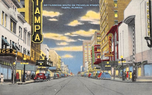 Looking South on Franklin Street Tampa, Florida Postcard