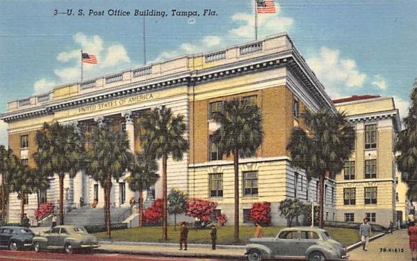 U. S. Post Office Building Tampa, Florida Postcard