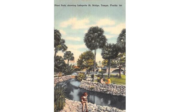 Plant Park, showing Lafayette St. Bridge Tampa, Florida Postcard