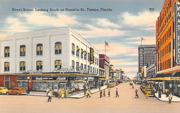 Street Scene, Looking South on Franklin St. Tampa, Florida Postcard