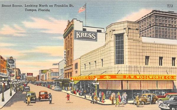 Street Scene, Looking North on Franklin St. Tampa, Florida Postcard