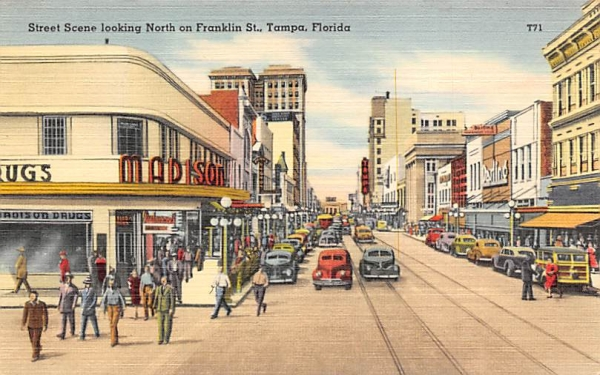 Street Scene looking North on Franklin, St. Tampa, Florida Postcard