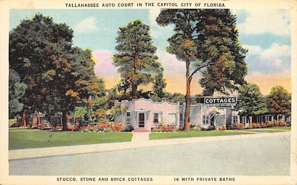 Tallahassee Auto Court in the Capitol City of Florida Postcard