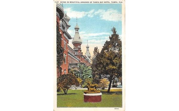 Scene in Beautiful Grounds on Tampa Bay Hotel Florida Postcard