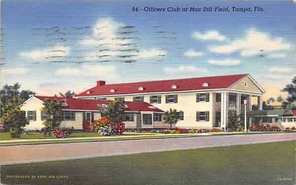 Officers Club at Mac Dill Field Tampa, Florida Postcard