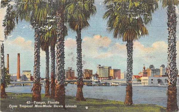 Tampa, FL from Tropical Man-Made Davis Island Florida Postcard