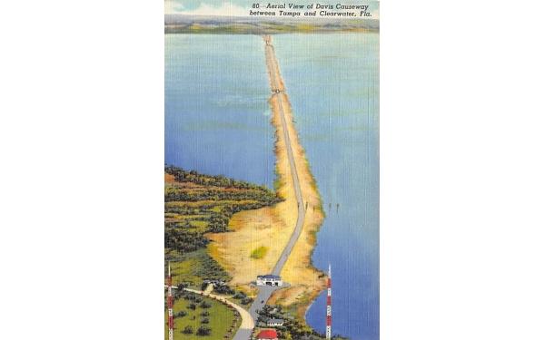 Davis Causeway, Between Tampa and Clearwater Florida Postcard