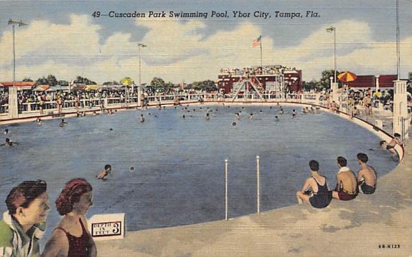 Cuscaden Park Swimming Pool, Ybor City Tampa, Florida Postcard