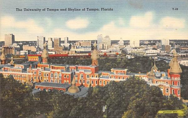 University of Tampa and Skyline of Tampa, FL, USA Florida Postcard