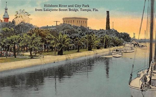 Hillsboro River, City Park,  Lafayette Street Bridge Tampa, Florida Postcard