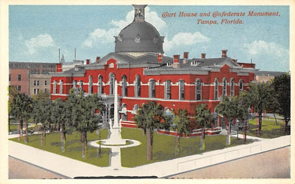 Court House and Confederate Monument Tampa, Florida Postcard