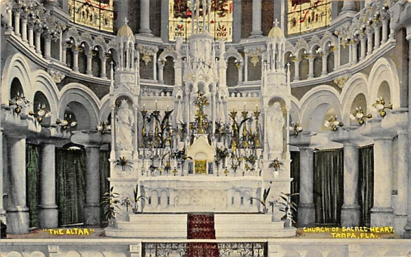 The Altar, Church of Sacret Heart Tampa, Florida Postcard