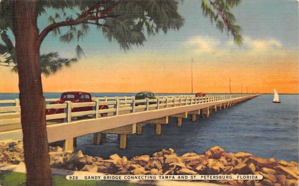 Gandy Bridge , Connect Tampa & St Petersburg Florida Postcard