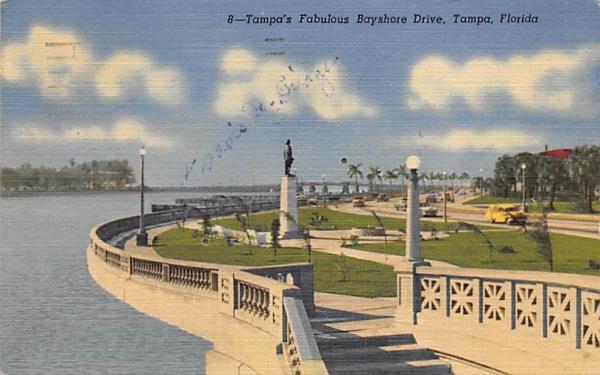 Tampa's Fabulous Bayshore Drive Florida Postcard