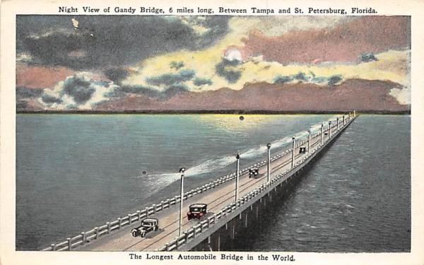Gandy Bridge, Between Tampa & St. Petersburg Florida Postcard