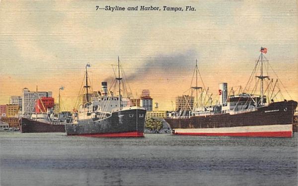 Skyline and Harbor Tampa, Florida Postcard