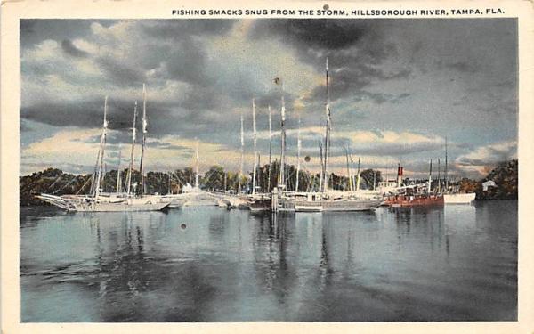 Fishing Smachs Snug, Storm, Hillsborough River Tampa, Florida Postcard