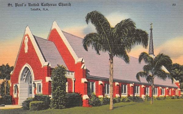 St. Paul's United Lutheran Church Tampa, Florida Postcard
