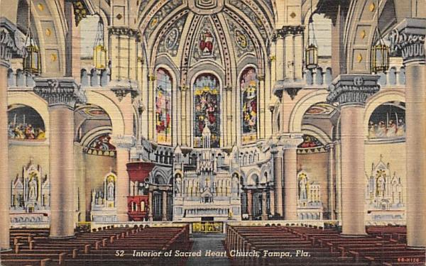 Interior of Sacred Heart Church Tampa, Florida Postcard
