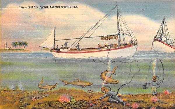 Deep Sea Diving Tarpon Springs, Florida Postcard