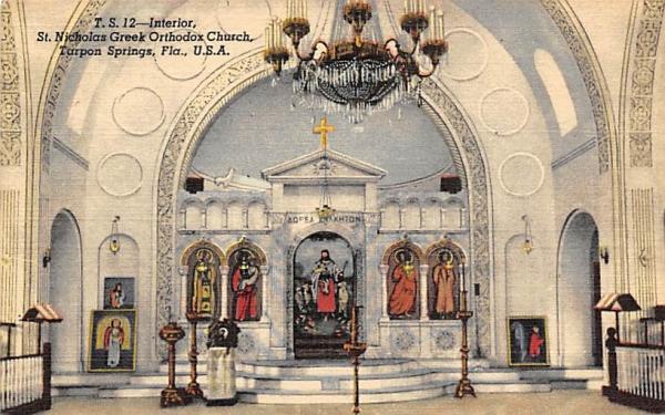 Interior, St. Nicholas Greek Orthodox Church Tarpon Springs, Florida Postcard