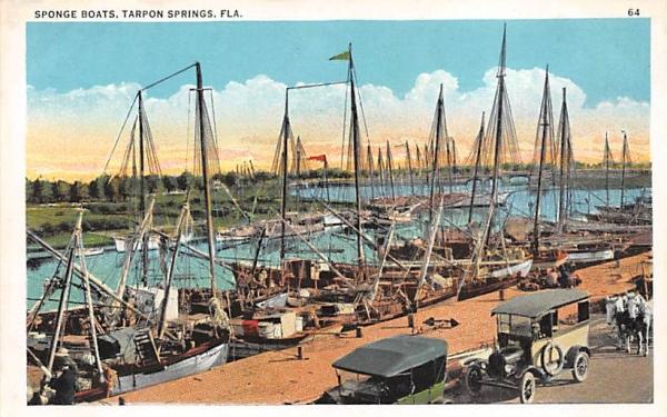 Sponge Boats Tarpon Springs, Florida Postcard