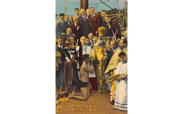 Cross from the Archbishop, Epiphany Day Tarpon Springs, Florida Postcard