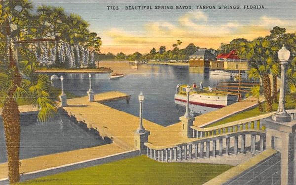 Beautiful Spring Bayou Tarpon Springs, Florida Postcard