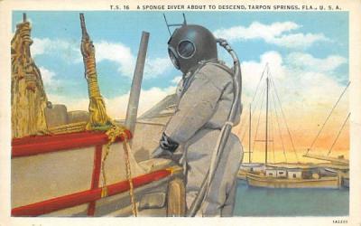 A Sponge Diver about to Descend Tarpon Springs, Florida Postcard